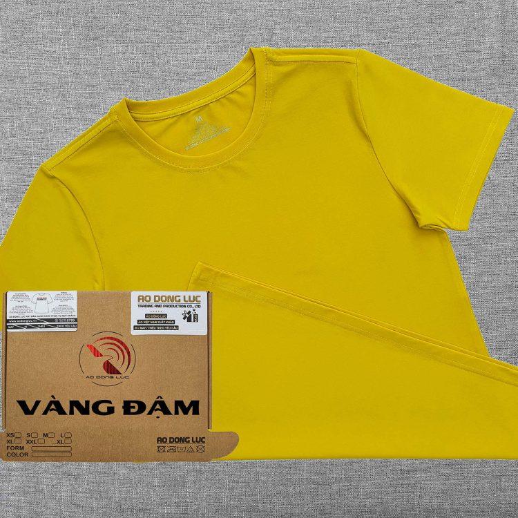 Áo thun cổ tròn ngắn tay cotton unisex màu vàng đậm