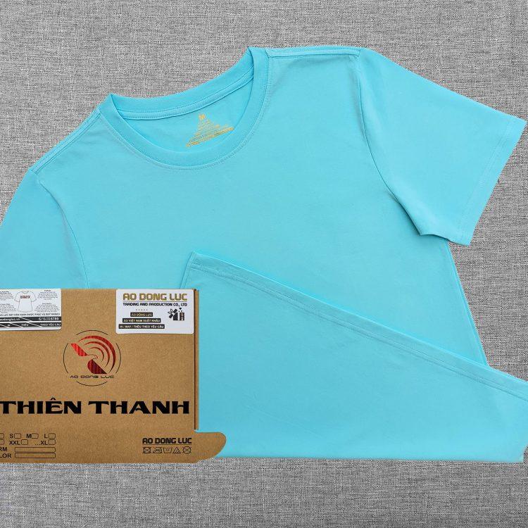 Áo thun cổ tròn ngắn tay cotton cao cấp màu xanh thiên thanh