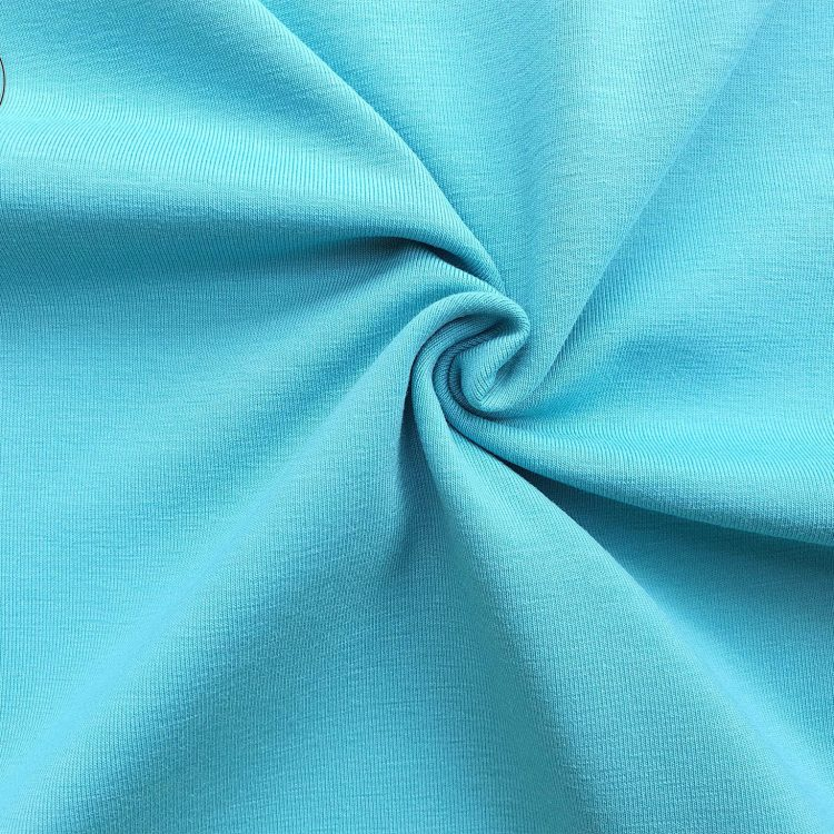 Chất vải áo thun cổ tròn ngắn tay cotton cao cấp màu xanh thiên thanh