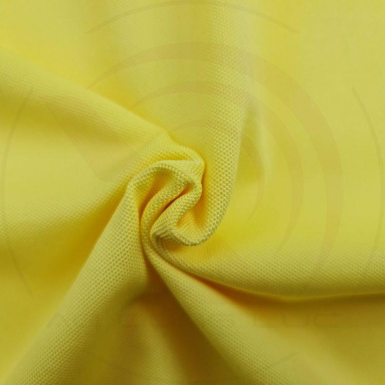 Chất vải áo thun cổ trụ polo bo trơn cá sấu lạnh poly màu vàng