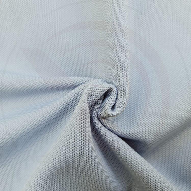 Chất vải áo thun cổ trụ polo bo trơn cá sấu lạnh poly thấm hút màu xám lam