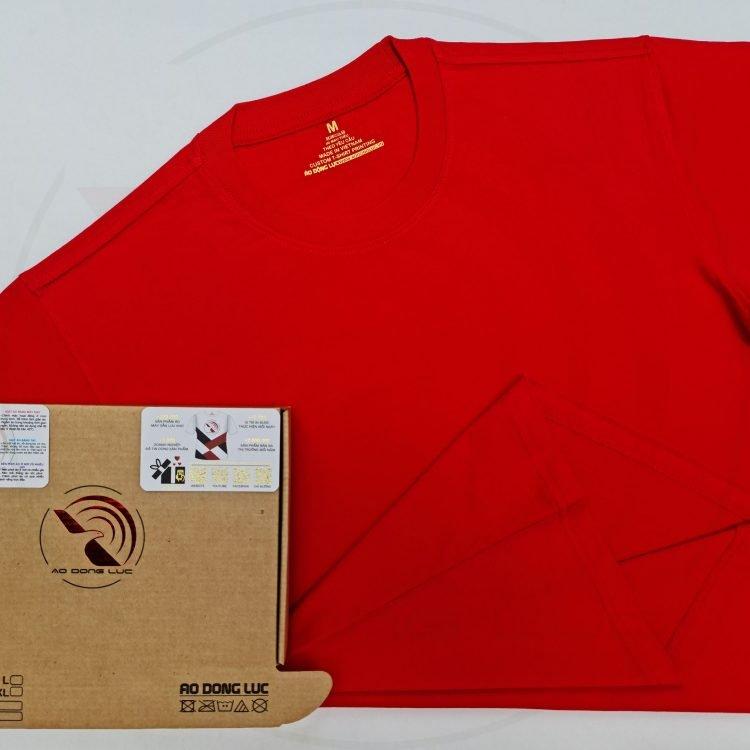 Áo thun cổ tròn tay lỡ cotton form rộng oversize màu đỏ tươi