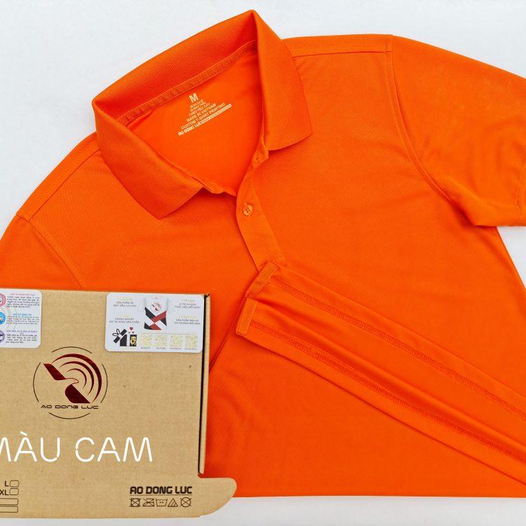 Hình tổng thể áo cổ trụ polo bo trơn unisex cá sấu mè màu cam