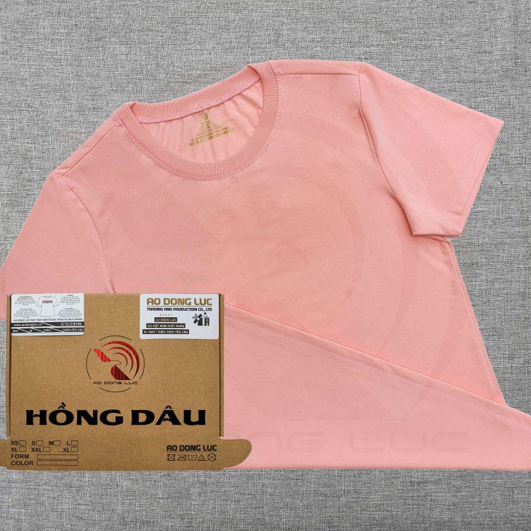 Áo thun cổ tròn supe ngắn tay unisex màu hồng dâu