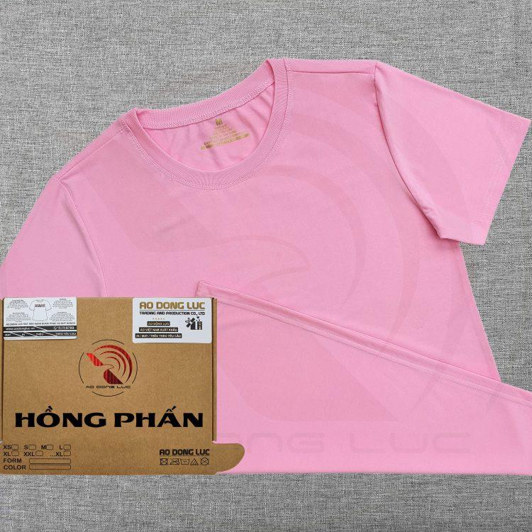 Áo thun cổ tròn supe ngắn tay unisex màu hồng phấn