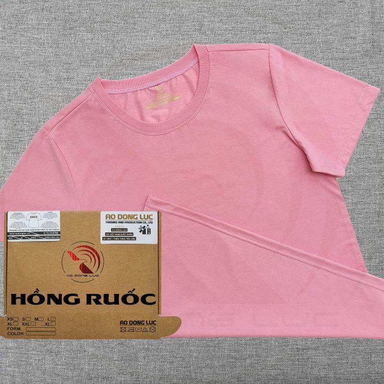 Áo thun cổ tròn supe ngắn tay unisex màu hồng ruốc