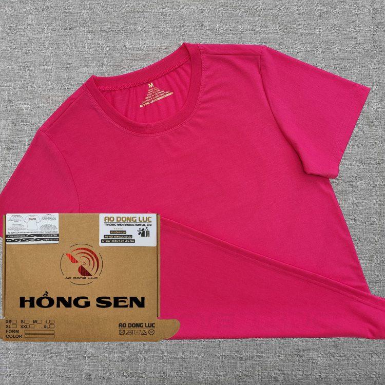 Áo thun cổ tròn supe ngắn tay unisex màu hồng sen