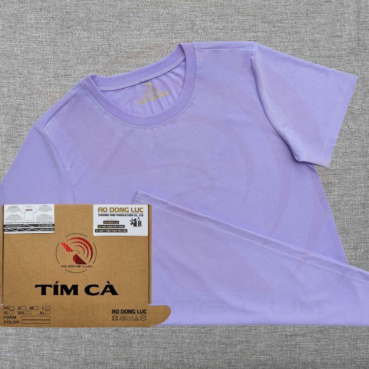 Áo thun cổ tròn ngắn tay supe unisex màu tím cà