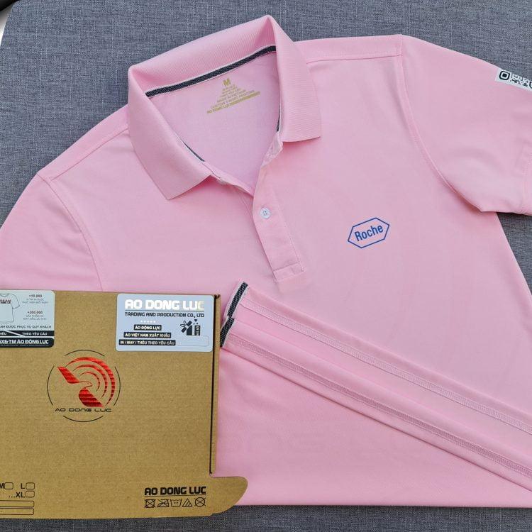 Đồng phục áo thun polo bo trơn hồng phấn in kỹ thuật số