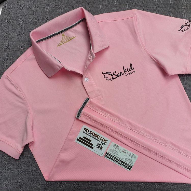 Đồng phục áo thun polo bo trơn màu hồng phấn in chuyển nhiệt