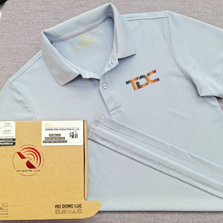 Đồng phục áo thun polo bo trơn xám lam in kỹ thuật số logo