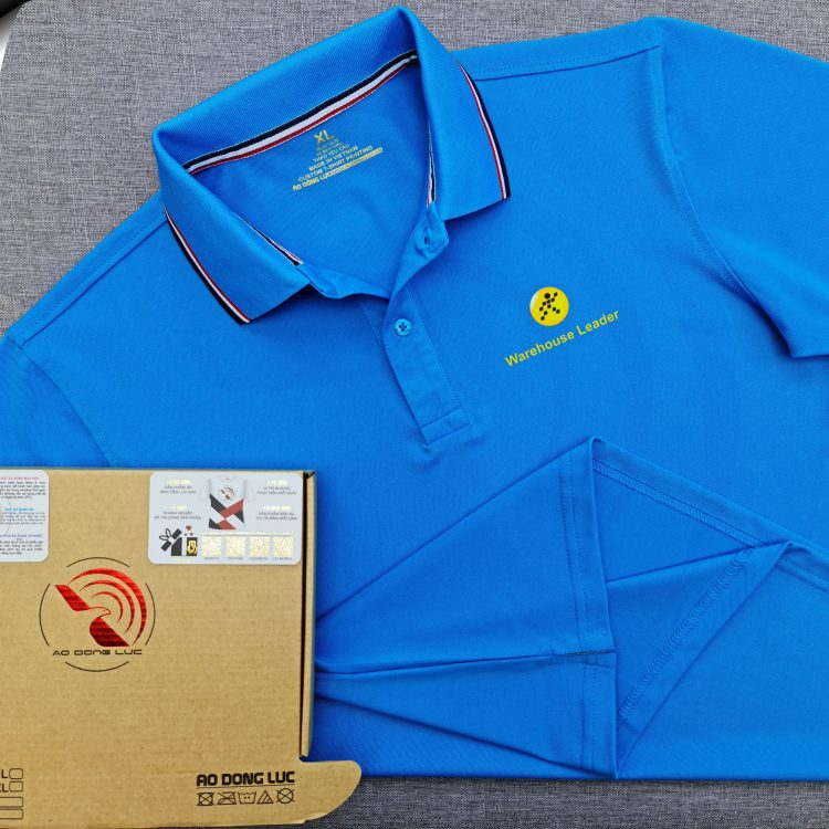Đồng phục áo thun polo phối bo sọc xanh ya in kỹ thuật số