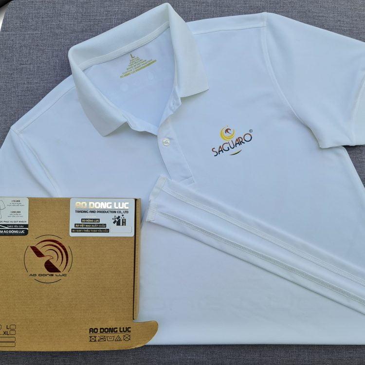 Đồng phục áo thun polo bo trơn màu trắng in kỹ thuật số logo