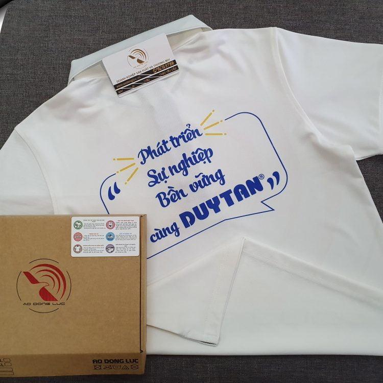 Đồng phục áo thun polo bo sọc màu trắng in chuyển nhiệt
