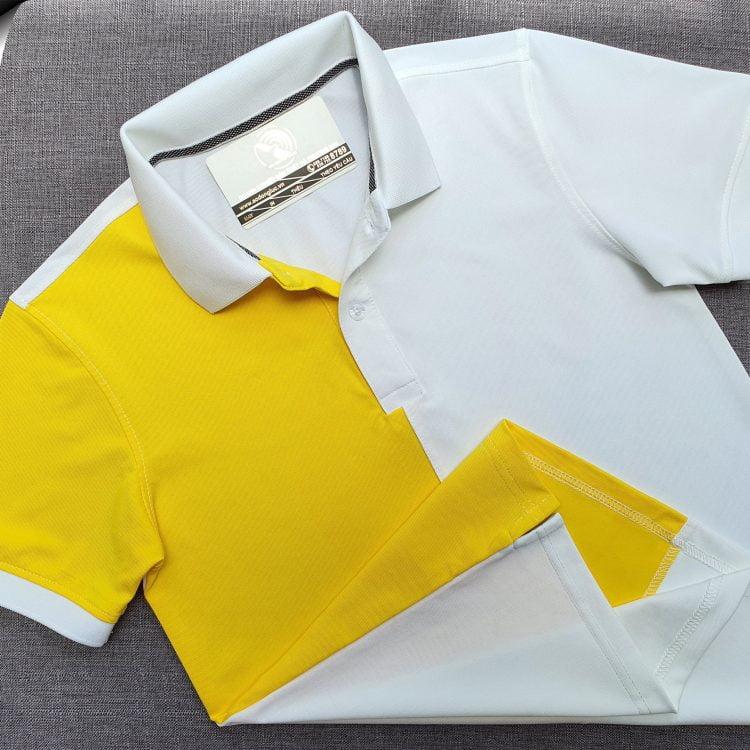 Đồng phục áo thun polo may phối thân vải trắng vàng