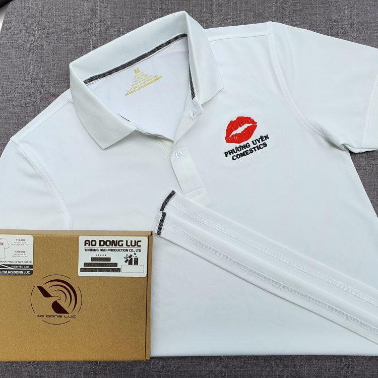 Đồng phục áo thun polo bo trơn màu trắng thêu logo