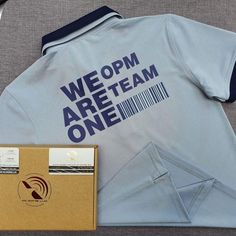 Đồng phục áo thun polo xám lam phối 2 màu cổ in decal
