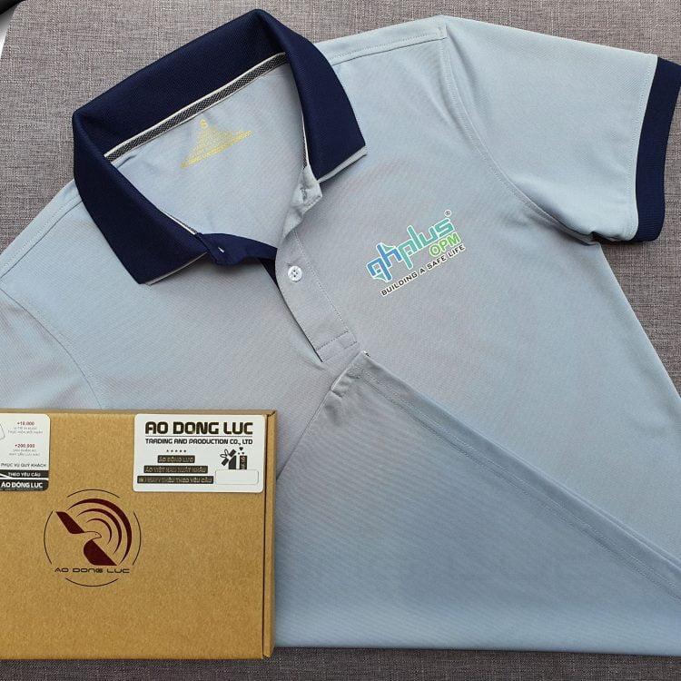 Đồng phục áo thun polo xám lam phối 2 màu cổ in decal logo